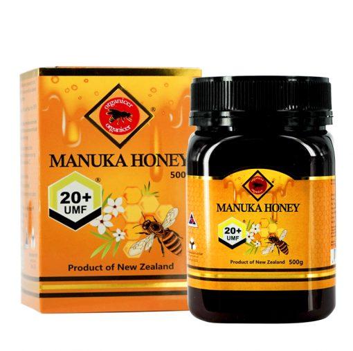 organicer manuka honey 20 plus 500 gram bottle and packging box front side