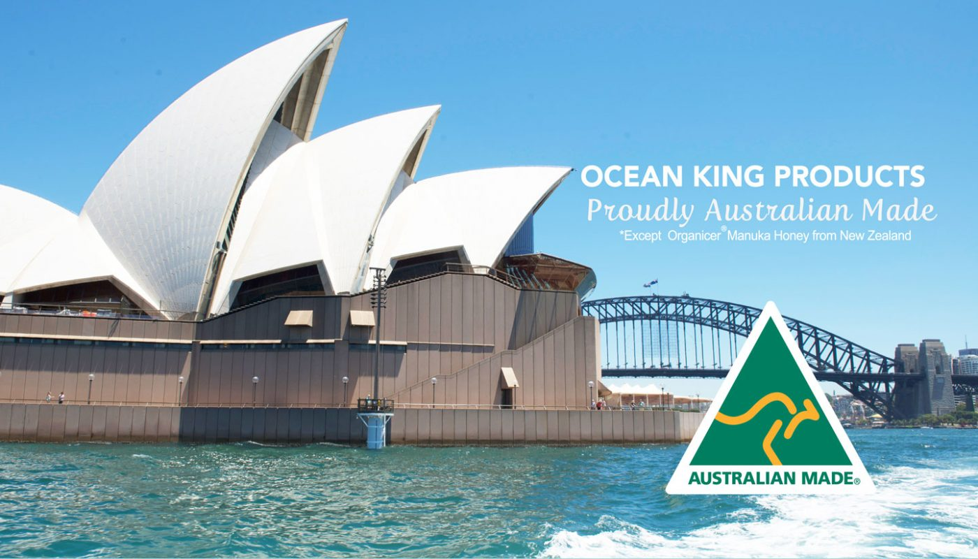 text ocean king products proudly australian made over picture of sydney opera house