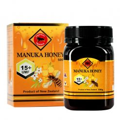 organicer manuka honey 15 plus 500 gram bottle and packging box front side