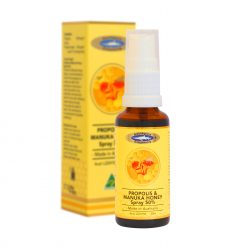 ocean-king-propolis-and-manuka-honey-spray-50-percent-front-side-of-bottle-and-packaging-box