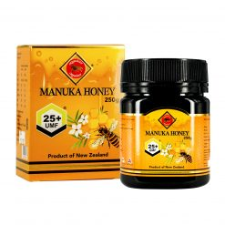 organicer manuka honey 25 plus 250 gram bottle and packging box front side