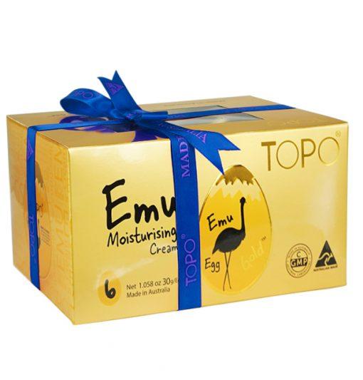 topo-emu-cream-egg-6-egg-gift-pack-with-blue-ribbon