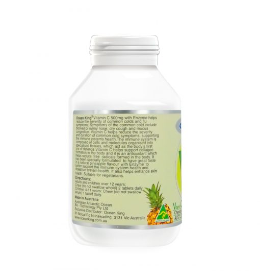 vitamin c with enzyme 500 milligram 90 chewable tablets left side