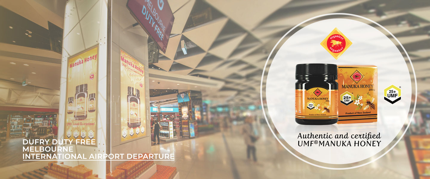 organicer manuka honey in front of melbourne international airport duty free