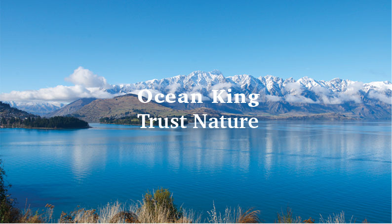 text ocean king and trust nature over ice mountains